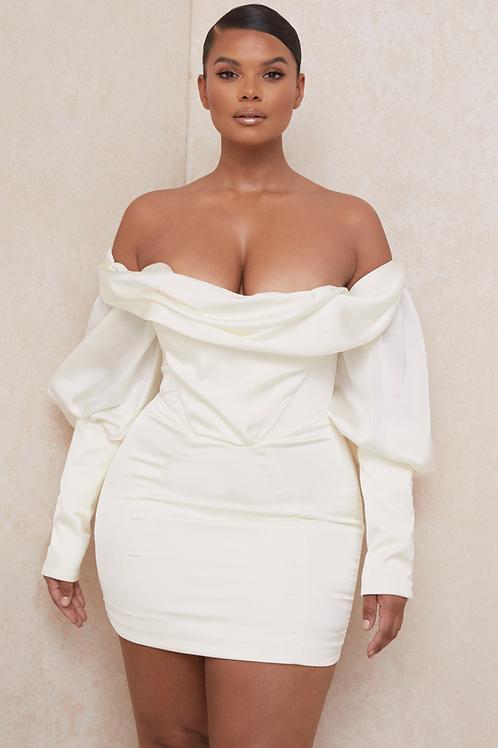 Claudia Ivory drapped corset dress