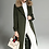 Thumbnail: Military Green Wool coat with faux fur detail