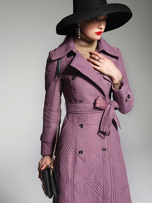 Deep Lilac long puffer trench coat