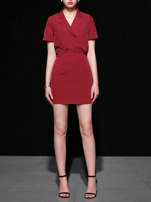 Burgandy Pinstripe Shirt and skirt set