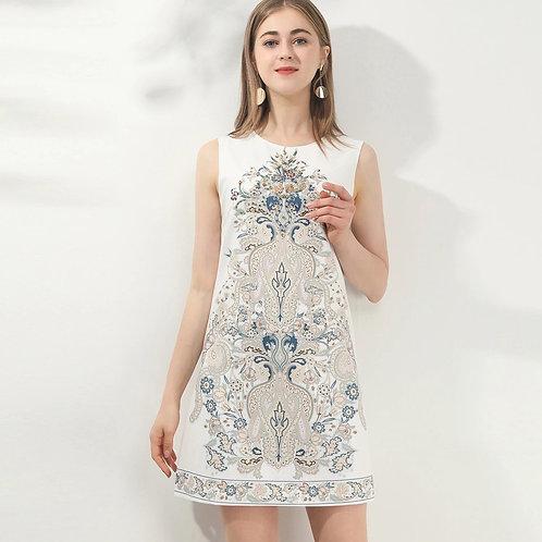 White ornate mini shift dress