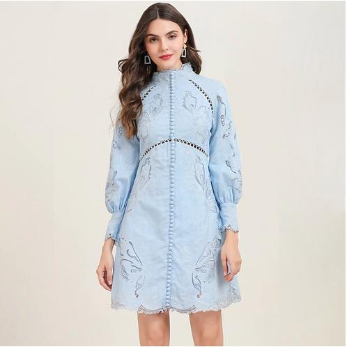 Light Blue lantern sleeve mini dress
