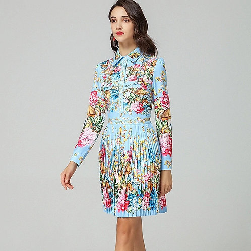 Pleated print collar dress