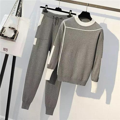 Grey knit loungewear set