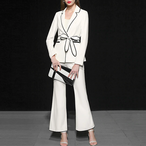 white suit with palazzo pants