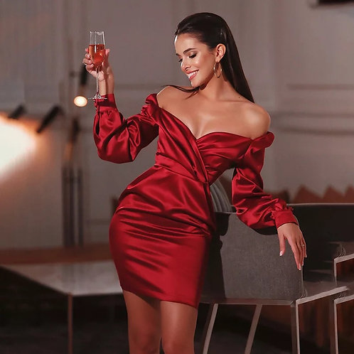 Sally Satin off shoulder dress