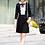 Thumbnail: Black sheath dress with lace detail