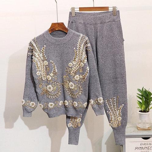Embellished luxury knit loungewear set