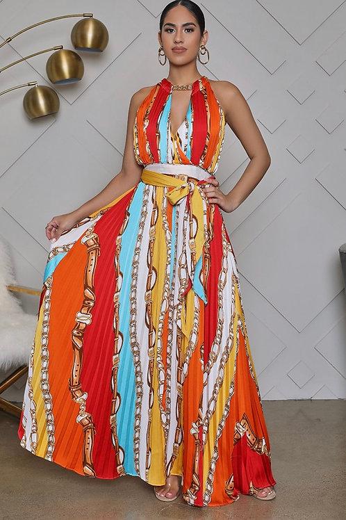 Meander multicolour halter chain dress