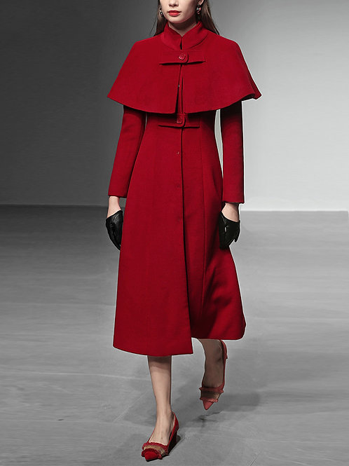 Wool dress with detachable cape