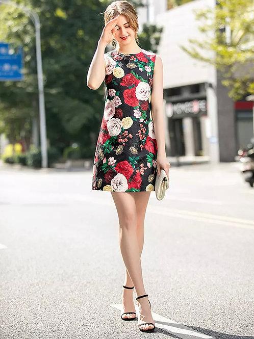 Mbali sleeveless rose print dress