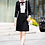 Thumbnail: Black and white shift dress with bow detail