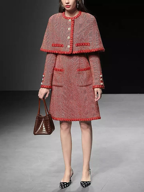 Red Tweed dress with detachable cape