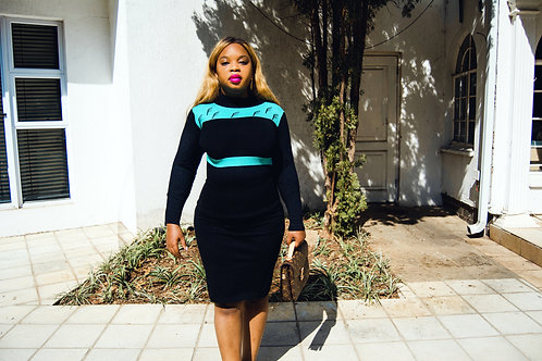 Black Knit Dress with Teal detail
