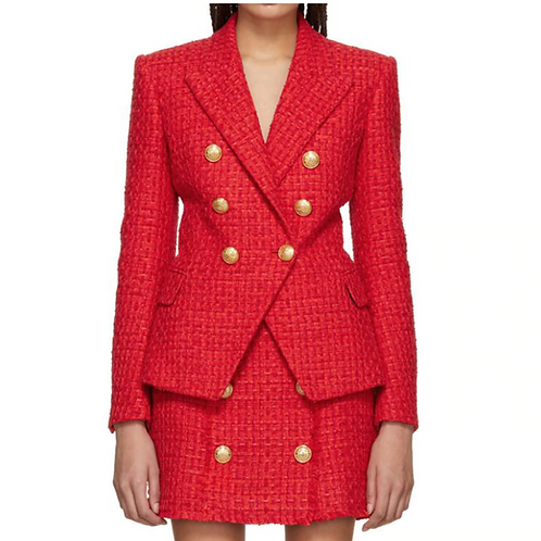 Red Tweed jacket and skirt set