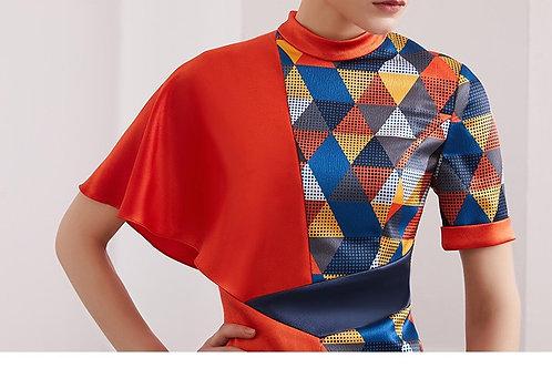 Mulberry Silk geometric print dress