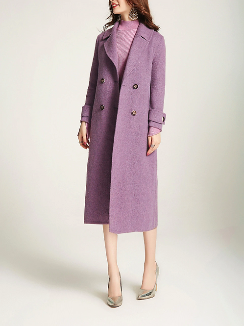 Lilac Collar Long Sleeve Double Breast Coat