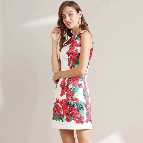 Sleeveless floral print mini dress
