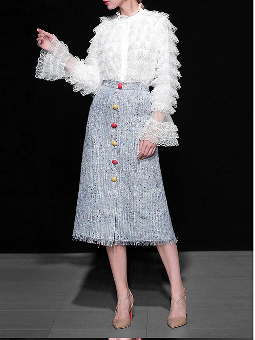 Ruffle lace top and midi tweed skirt