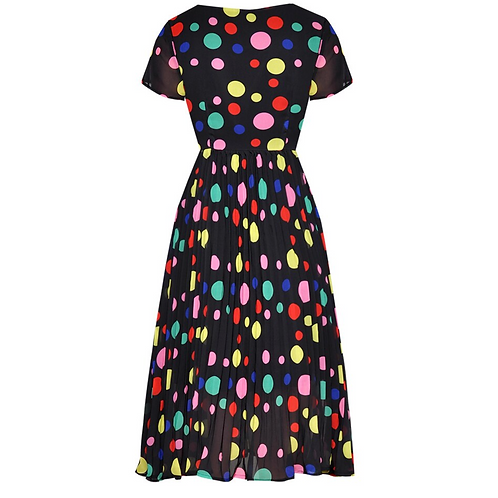 Black, with colourful Polka dots dress