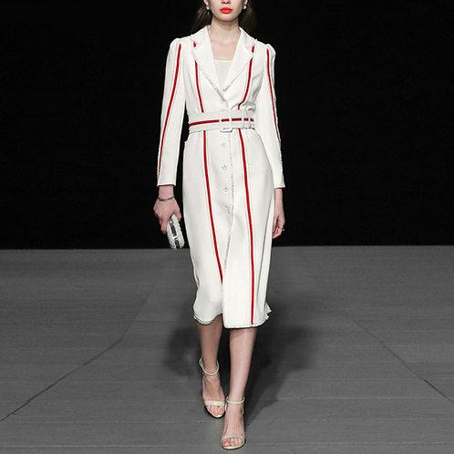 white and red striped coat dress