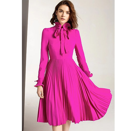 Magenta pleated bow dress