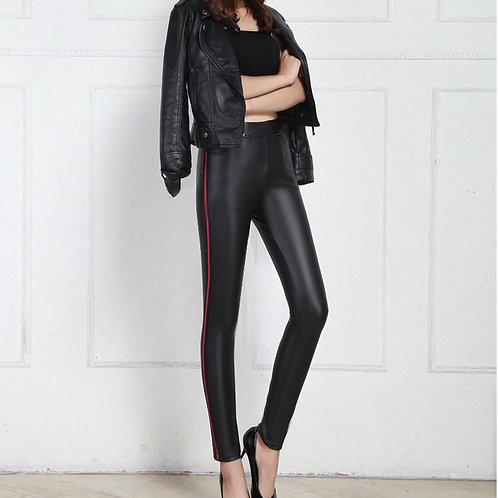 Leather pants with red stripe detail