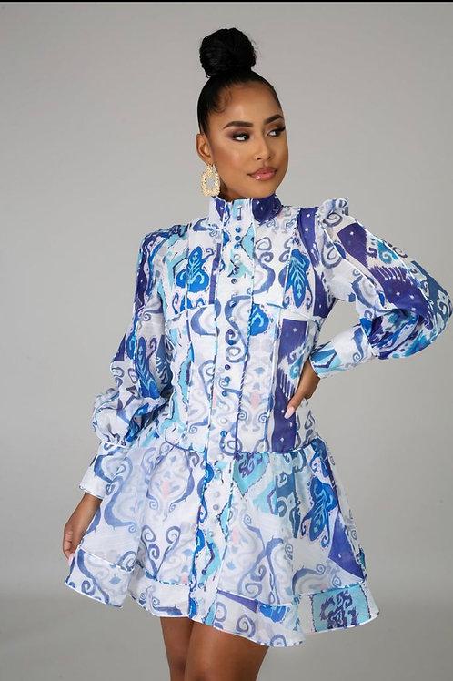 Blue lily mini dress
