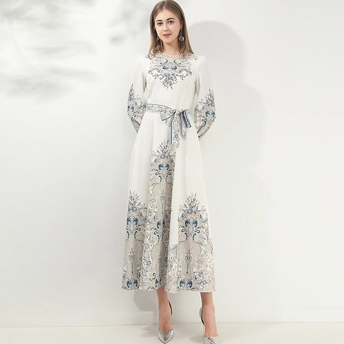 Long white dress with ornate detail
