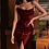 Thumbnail: Wine Ruffles midi satin dress