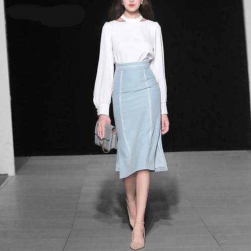 White blouse and blue high waist skirt set
