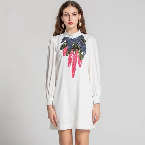 White long sleeve mini dress with sequins detail