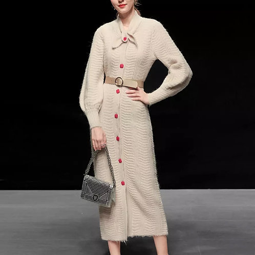 Cashmere dress with bow detail