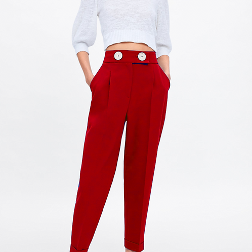 Red high waist double button pants