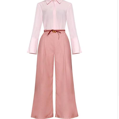 Collar Long Sleeve Shirt + Pocket Wide-legged Trousers