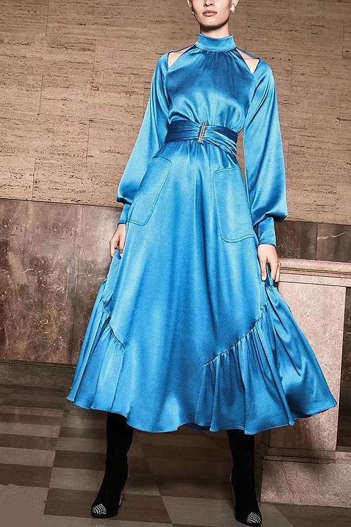 Midi long sleeve silk dress