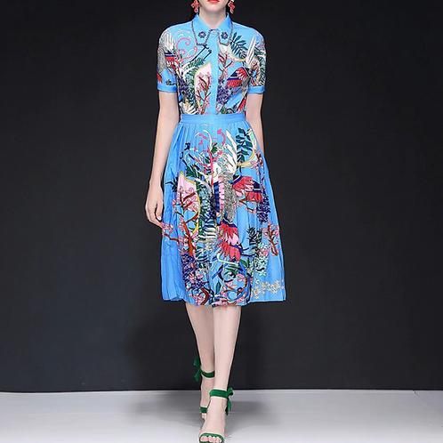 Collar Short Sleeve Shirt  + Pleated Midi Skirt set