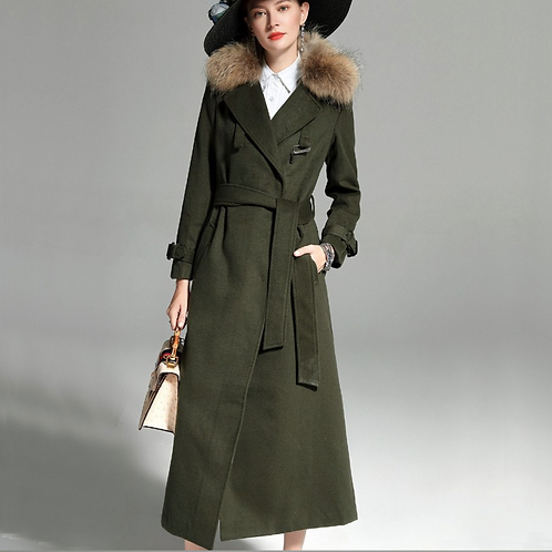 Military Green Wool coat with faux fur detail