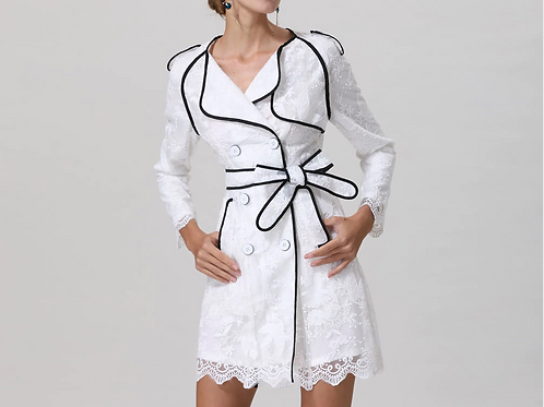 Elegant Embroidery Double Breasted White Dress Coat