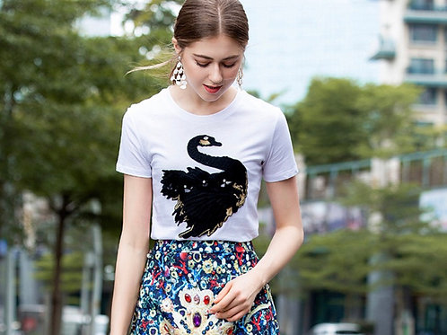 Swan 3D embroidery T-Shirt