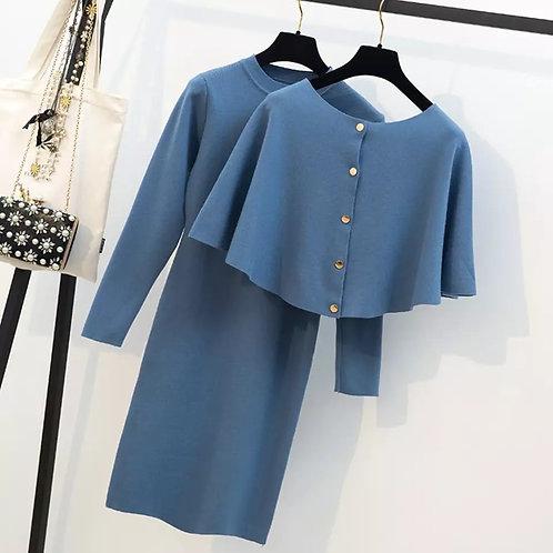 Knit dress with detachable cape
