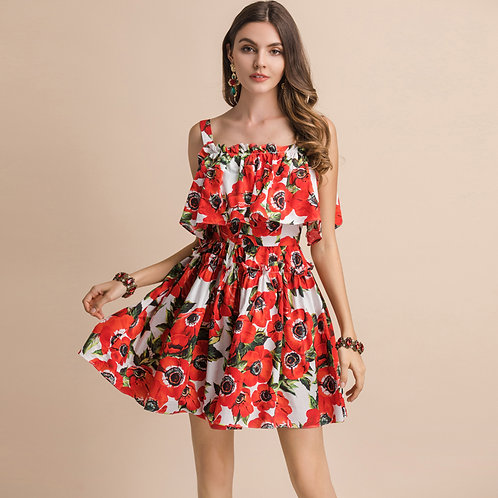 Red and white roses strap dress