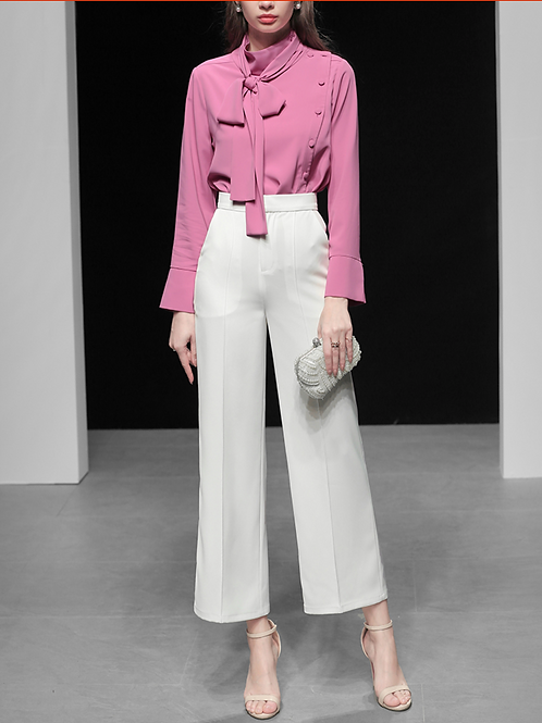 Pink  bouse and high waist wide white  trouser set