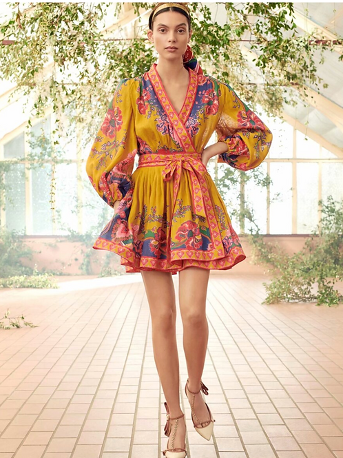 Printed wrap yellow dress
