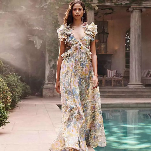 Mbali floral print cut-out maxi dress