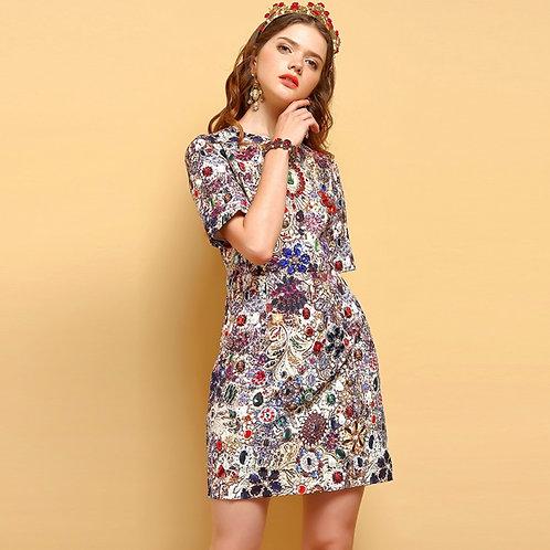 Sleeve jewel mini dress