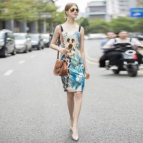 Giraffe print resort wear dress