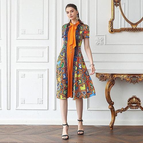 Martha geometric print mulberry silk dress