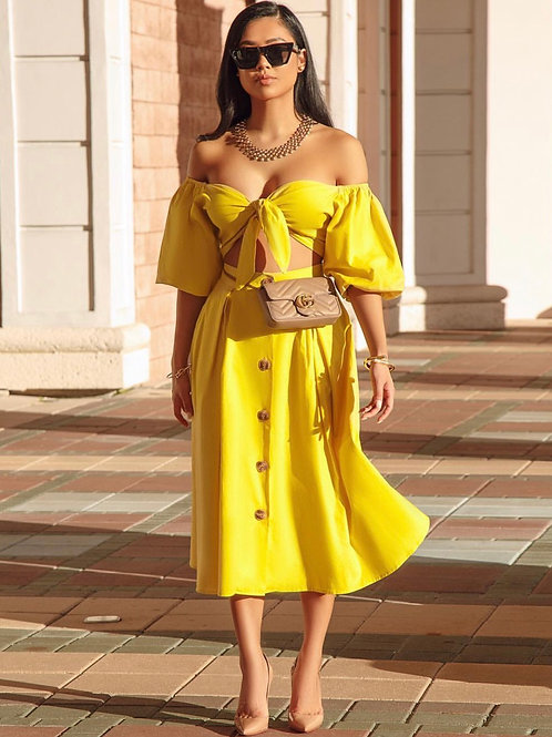 Canary yellow linen two piece set