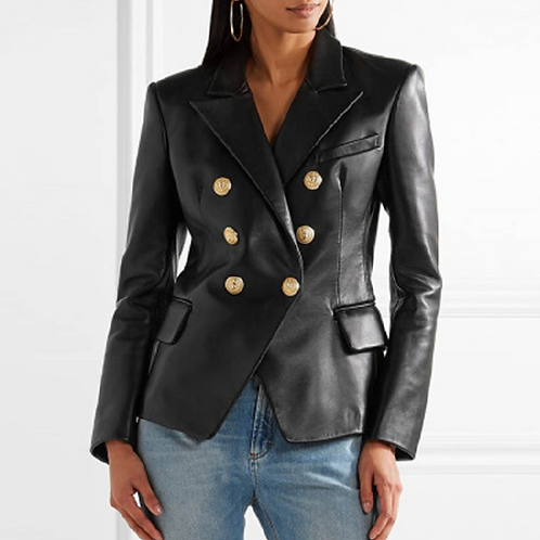 Signature Gold button PU leather blazer